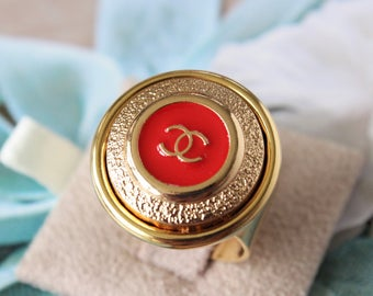 Authentic Iconic Designer Button Ring RED and Gold, Logo Ring Classic Designer Upcycled Button Jewelry, Adjustable Ring veryDonna