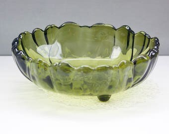 Large Green Glass Footed Bowl, Fruit Bowl, Vintage Serving Bowl, Indiana Glass