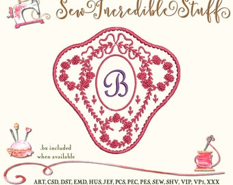 Single Initial 2 color Machine Embroidery Monogram Font in Victorian Floral Frame