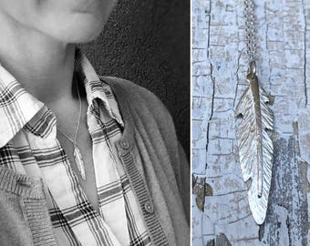 Sterling Silver Feather Necklace - Small Vertical Feather - Hand Forged Unique Feather - Solid Sterling Silver