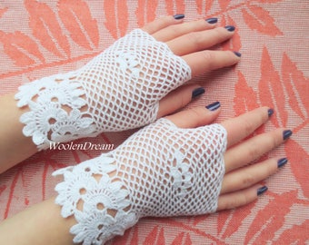 Bridal fashion accessory,victorian style fingerless lace gloves,crochet jewelry, romantic summer wedding,bohemian evening dress,gift for Her