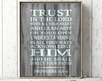 Trust in the Lord PRINTABLE ART Rustic Wood Scripture Home Decor Nautical Proverbs 3:5-6 Instant Download Digital File Large Art