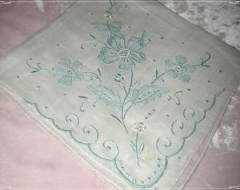 No. 200 ANTIQUE Swiss Cotton Hand Embroidered Handkerchief, Blue Embroidery No. 50