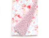 pink plush floral cloud blanket for m