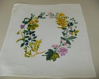 Vintage Swedish hand printed linen tablecloth by Jobs hand print in Leksand - Gocken Jobs design