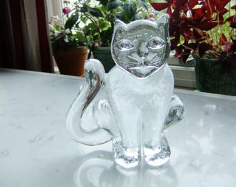 Vintage Swedish glass cat - Boda Zoo - Bertil Vallien design