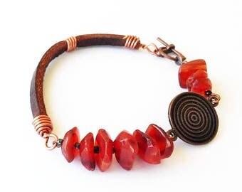 Bracelet, Leather bracelet wit agate, Beaded bracelet, Agate bracelets, Hand knotted jewelry, Art jewelry, Gift for her