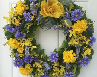 Yellow Poppy and Periwinkle Daisy with Lush Greens Wreath