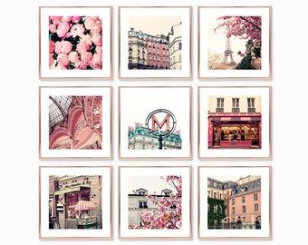 Paris wall art, Paris prints, pink wall art, Paris photography, print set, Paris photos, girl room decor, girl room art, girly wall art