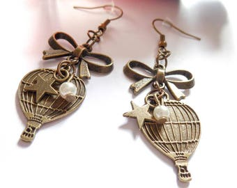 Hot air balloon trip bronze earrings
