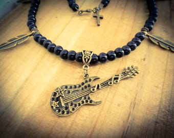"Bronze necklace black feathers beads steampunk Guitar Heroes ""Music"""