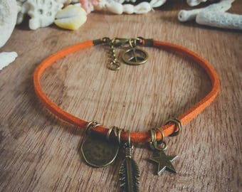 Bracelet orange bronze leather feather Peace and Love Bohemian Koh Lipe