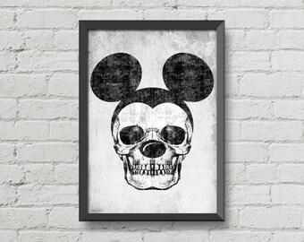 Mickey skull,digital print,poster,wall poster,artwork,skulls,skull poster,home decor,gothic art,black and white,man cave art,skeletons