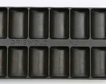 Antique GRISWOLD Fine No. 11 French Roll Pan No. 950 Variation 8 Cast Iron Muffin Pan Professionally Cleaned & Organically Seasoned