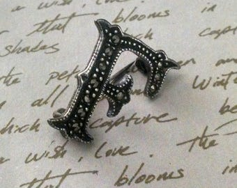 "Brooch Pin Vintage ""F"" Initial Sterling Silver Marcasite Original Box Unisex Lapel, Jacket or Other"