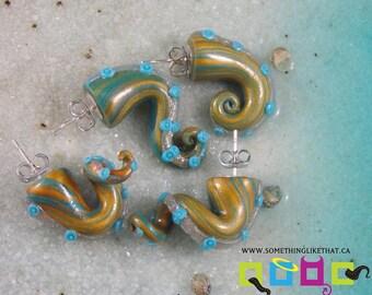 Fake Gauges Tentacle Earrings - Royal Heir - Blue