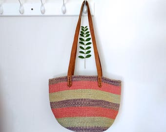 Vintage Sisal Market Bag Leather Straps Straw Purse Straw Beach Bag Sisal Tote Straw Tote Round Straw Bag Tote Sisal Bag Leather Handles