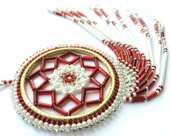 Red and White Beaded Dreamcatcher - Authentic Native American Made
