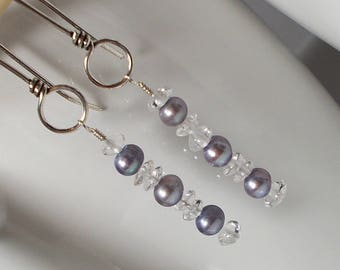 Lavender Freshwater Pearl Sterling Silver Earring, Sterling Earring, Freshwater Pearl Earring, Lavender Pearl Earring, Quartz Earring