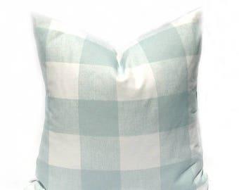 15% Off Sale Buffalo Check Pillow , Green Pillow , Green Pillow Cover, Spa Green Blue Pillow , Throw Pillow Cover, Buffalo Check, Decorative
