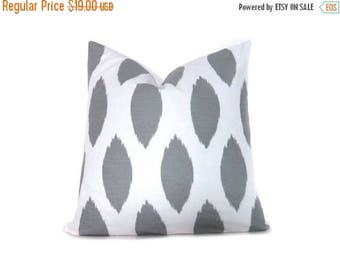 15% Off Sale Decorative Pillow Gray Ikat. Throw Pillow Covers 20x20. Decorative Throw Pillow ONE 20x20 Printed fabric front and back