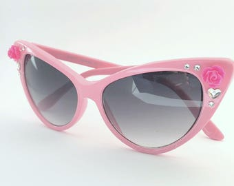 Embellished Retro Cat Eye Style Sunglasses Pink with Pink Rose Flowers and Rhinestone Crystals