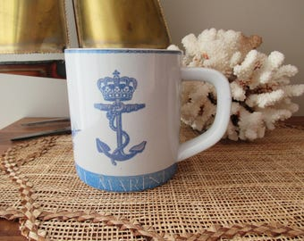 Vintage Tea/Coffee Mug, Nautical Ship & Anchor Design, Made in Denmark, Signed and Numbered