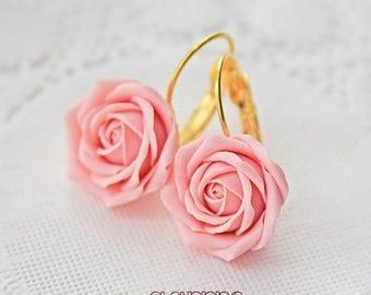 SALE Soft Pink Rose Earrings, Light Pink Flower Earrings, Rose Earrings, Bridesmaid Earrings, Bridal Earrings, Gift For Her, Valentine's Day