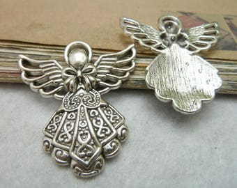 The vintage style  antique  silver  plating angel    pendant finding