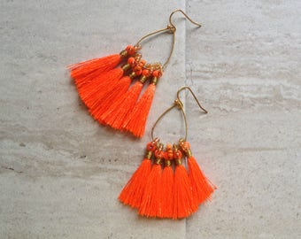 Tassel Teardrop Hoop Earrings Must Have Tassel Earrings Statement Tassle Earrings Orange Tassel Earrings