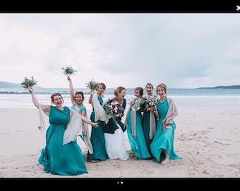 Set of Six Linen Knit Bridal Bridesmaids Shawls . Winter  wraps  for bridesmaids. Evening dress Shawls.Shawls for bridesmaids dresses
