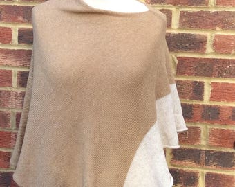 Tan Womans knit poncho cape .Drape Neck  Minimalist  knit wrap in nude. Gift for grandmother.Spring Fashion Statement. Easter holidays wrap