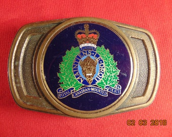 One (1), Vintage, Royal Canadian Mounted Police, Solid Brass and Enamel, Belt Buckle.