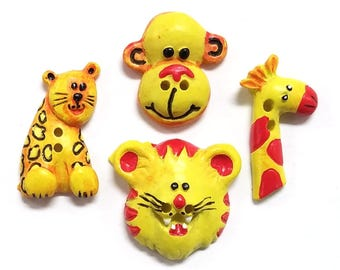 4 Cheri Strole Jungle Friends Two Hole Novelty Sewing Buttons