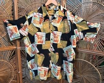 "Fabulous  Large/XL  ""Go Barefoot A Hawaiian tradition Aloha shirt. Wonderful vintage pattern"