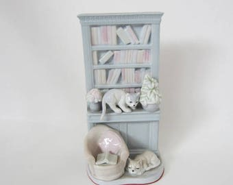 Cat Decor, Porcelain Bookcase with Cats, Cat Collectible, Cat Lover Gift, Pastel Colors, Blue Bookcase, Home Decor