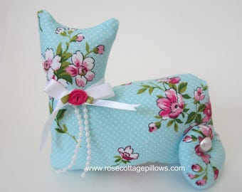 Cat Doll, Pink Roses on Blue Cat, Pillow Tuck, Cottage Chic Cat, Pink and Blue Romantic Rose, Stuffed Cat