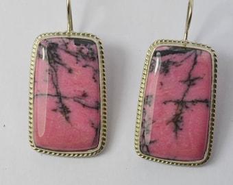 Russian Rhodonite earrings, Genuine Rhodonite Earrings, FREE SHIPPING