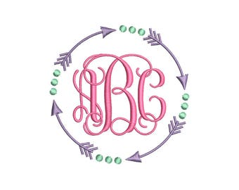 Arrow Circle Monogram Frame Embroidery Design - Instant Download