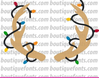 Antler Lights Monogram Frame SVG Cut File - Instant Download