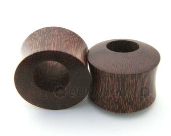 "Pair Palm Wood Offset Void Gauged Earring Plugs 6G, 4G, 0G, 00G, 7/16"", 1/2"", 9/16"", 5/8"", 11/16"", 7/8"" Dunnygun Body Piercing Jewelry"