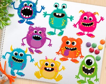 Fluffy Monsters Clipart, monster party, monster birthday, cute monsters, bright monsters, commercial use, vector clipart, SVG Cut file