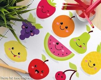 Cute Fruit Clipart, Kawaii Clip Art, strawberry, watermelon, grapes, apple, orange, cherries, pineapple, lemon, commercial use, vector, SVG