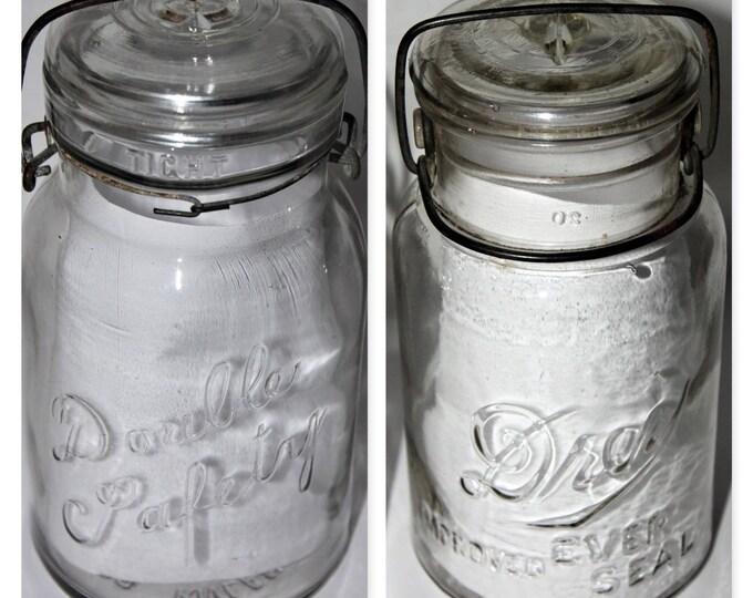 Pair of Vintage Canning Jars Drey Improved Ever Seal & Dorible Safety, Collectible Mason Jars