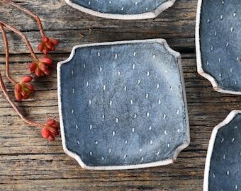 Stonewash Square Dish - Ceramic Plate - Small Plate - Pottery Plate