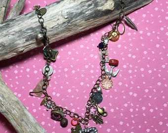 Mixed Media Necklace Multi Charm Necklace Metal Charm Necklace Assemblage Necklace Industrial Necklace Charm Necklace Steampunk Necklace