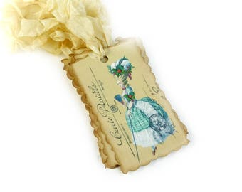 Marie Antoinette Christmas Gift Tags, French, Paris Bridal Shower Favor Tags, Carte Postale, Holiday Gift Packaging, Set of 10