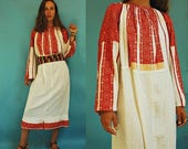 RESERVED  vintage Romanian Traditional Embroidered Red Bell Sleeve Folk Dress