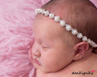 Baby accessories, pearl rhinestone headband, halo, crystal headband, baptism, photo prop, baby shower, flower girl, wedding, bling, sparkle