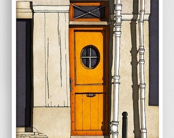 30% OFF SALE: Secret door - Paris illustration Giclee Art Print Poster Paris decor Art Print Home decor Modern art Orange Paris door Paris f